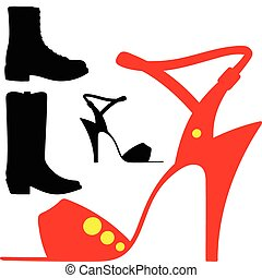 sandals and boots vector silhouette