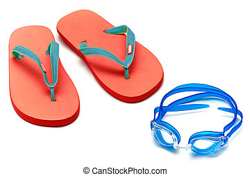 sandals and goggles - sandals and glasses for swimming on ...