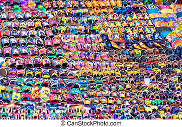 Sandals for Sale in a Street in Oaxaca