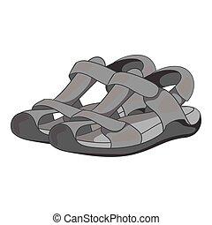 Sandals icon, gray monochrome style