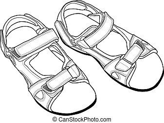 sandales clipart noir et blanc