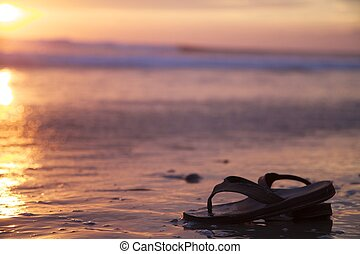 Sandals in Water on a Beach Sunset