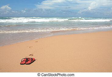 Sandals on a beach - A tropical beach with a pair of sandals...