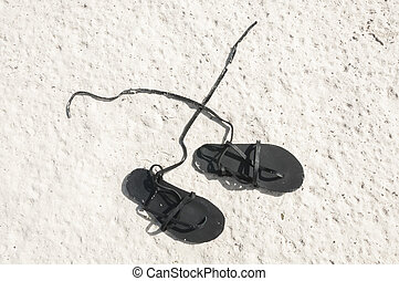 Sandals on sand