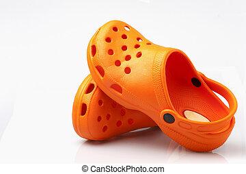 sandals on white background - orange sandals isolated on ...