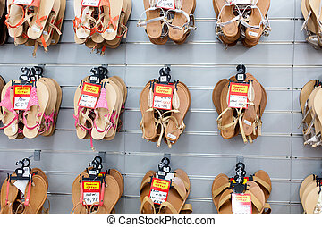 Sandals shoes in the shop