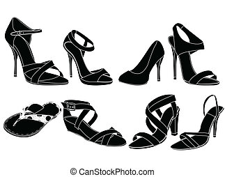 silhouettes of woman shoes,