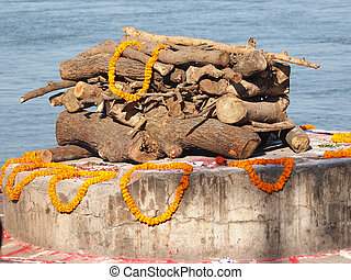 sandalwood and flowers for cremate ceramony on ganges in...