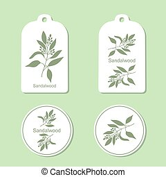 Sandalwood tree branch Tags and Labels