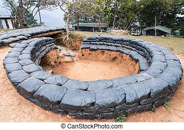 Sandbag bunker of the old military base.