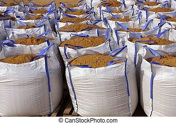 sandbag white big bag sand sacks on quarry