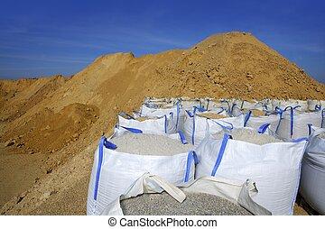 sandbag white big bag sand sacks quarry perspective