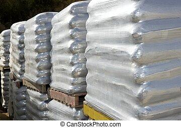 sandbags bags white wooden pallet sacks