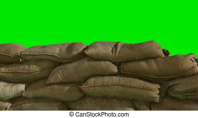 sandbags for flood defense or military use on green ...