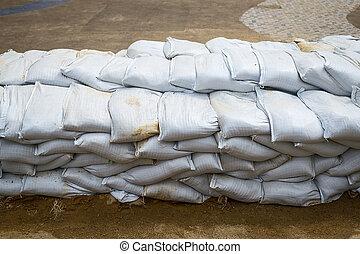 Sandbag to prevent flooding in the rainy season, preventive concept.