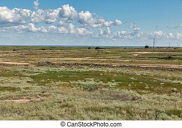 Sandbar between Black Sea and Sasyk or Kunduk lake, Ukraine...