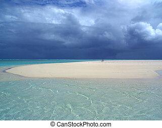 Storm approaching over sandbar