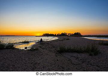 Sandbar Sunset - A sandbar at sunset along Sandy Hook Bay ...