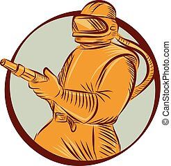 Illustration of a sandblaster worker holding sandblasting hose wearing helmet visor viewed from front set inside circle on isolated background done in retro woodcut style.