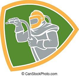 Sandblaster Sandblasting Hose Shield Retro