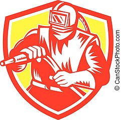 Sandblaster Sandblasting Hose Shield Retro - Illustration of...