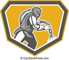 Sandblaster Sandblasting Hose Side Shield Retro