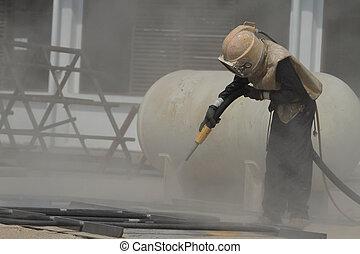 sandblasting, 建設, 金属, サイト, 構造