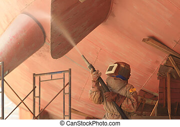 sandblasting, construcción, metal, sitio, estructuras