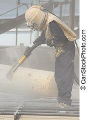 sandblasting, construction, métal, site, structures