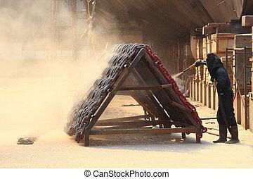 sandblasting, inyectar, cadena, en, muelle seco