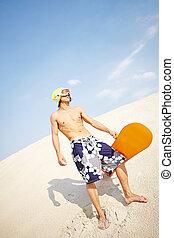 sandboarder, anfall