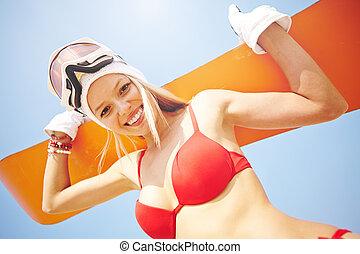sandboarder, glücklich