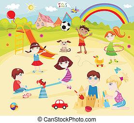 sandbox - vector illustration of a sandbox with children