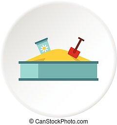 Sandbox icon circle - Sandbox icon in flat circle isolated...