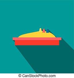 Sandbox icon, flat style