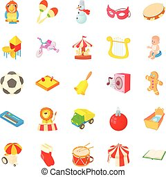 Sandbox icons set, cartoon style - Sandbox icons set....