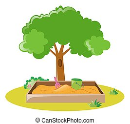Sandbox in the park illustration