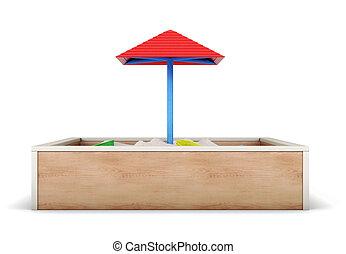 Sandbox isolated on white background. 3d render image