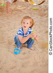 sandbox, jouer, girl