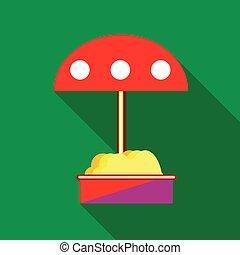 sandbox, parapluie, childrens, rouges, icône