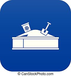 Sandbox with bucket and shovel icon digital blue