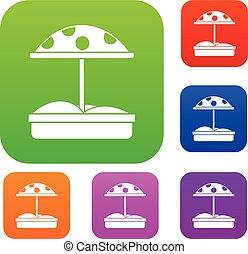 Sandbox with dotted umbrella set collection - Sandbox with...