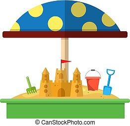 Sandbox with red dotted umbrella icon, Bucket, rake,...