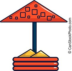 Sandbox with red dotted umbrella icon - Sandbox with red...