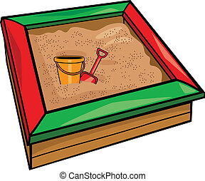 sandbox with toys cartoon illustration