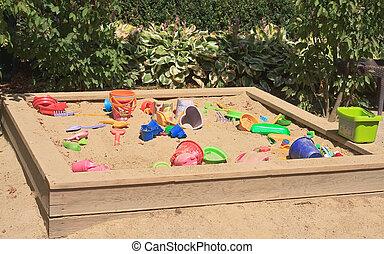 Sandbox with toys for children