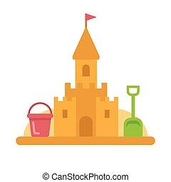 sandcastle, à, jouets, plat, icône