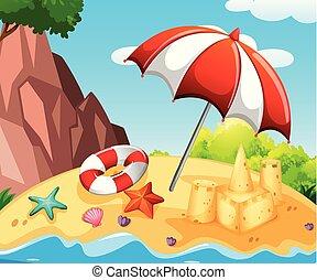 sandcastle, 浜 場面, 背景