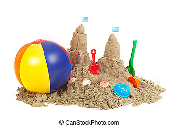 sandcastle at the beach with platic toys isolated over white background