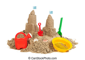 Sandcastle at the beach - sandcastle at the beach with...